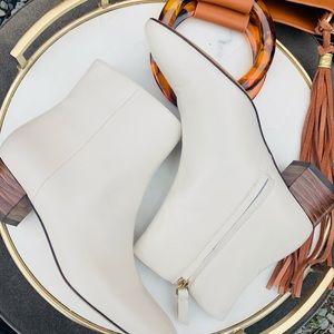Nwt Massimo Dutti White Leather Ankle